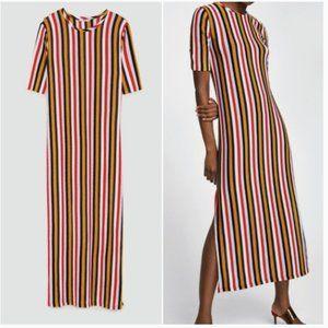 NWOT Zara Striped Maxi Dress Red Navy Mustard